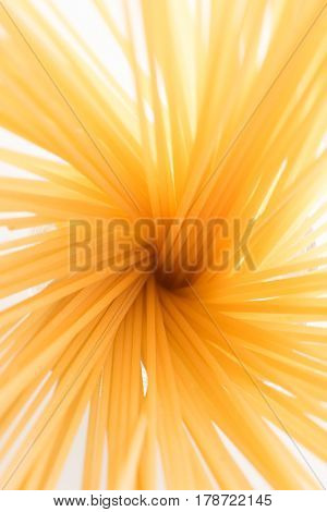 Bundle of long spaghetti standing in a cup expanding outwards. shot from the top. Focus slightly above the center.