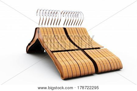 3d rendering of wooden coat hanger Clothes, Wear, Casual, Household, Housekeeping, Rack, Hook, Boutique, Cloakroom, Vestito, Appendino