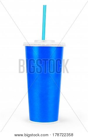 Blue disposable paper cup isolated on white