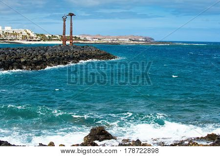 View of Playa de las Cucharas beach in Costa Teguise, Lanzarote, Spain, selective focus