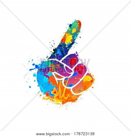 Vector forefinger symbol. Splash paint watercolor icon