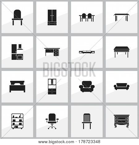 Set Of 16 Editable Furniture Icons. Includes Symbols Such As Settee, Bed, Stillage And More. Can Be Used For Web, Mobile, UI And Infographic Design.
