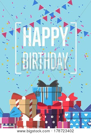 Happy birthday greeting card design vector illustration. Birthday banner with wrapped present box in flat style. Party invitation or holiday event congratulation with colorful gift box and confetti