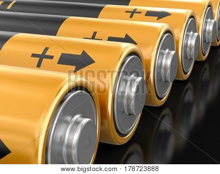 3D illustration. Batteries. Image with clipping path