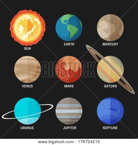 Planets of the solar system in flat style. Vector simple icons of the main known planets.