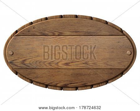 Vintage wood signboard isolated 3d illustration