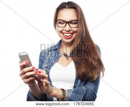 Cheerful woman talking on the phone isolated on a white backgrou