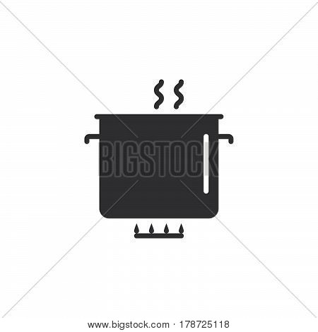 Saucepan icon vector solid flat sign pictogram isolated on white logo illustration