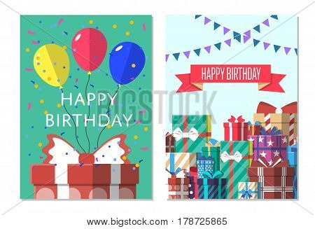 Happy birthday greeting card design set vector illustration. Birthday banner with present box in flat style. Party invitation or holiday event congratulation with colorful gift box, confetti, balloon