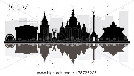 Kiev City skyline black and white silhouette with reflections. Simple flat concept for tourism presentation, banner, placard or web site. Cityscape with landmarks