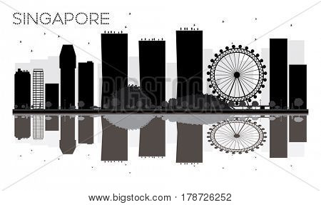 Singapore City skyline black and white silhouette with reflections. Simple flat concept for tourism presentation, banner, placard or web site. Business travel concept. Cityscape with landmarks.