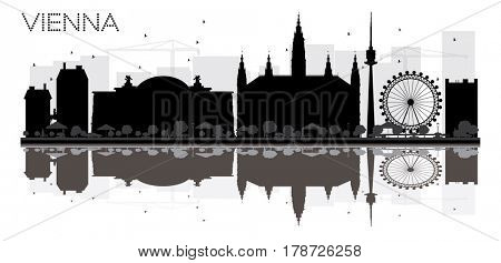 Vienna City skyline black and white silhouette with reflections. Simple flat concept for tourism presentation, banner, placard or web site. Cityscape with landmarks.