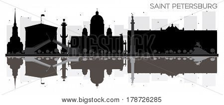 Saint Petersburg City skyline black and white silhouette with reflections. Simple flat concept for tourism presentation, banner, placard or web. Cityscape with landmarks.