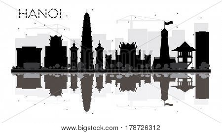 Hanoi City skyline black and white silhouette with reflections. Simple flat concept for tourism presentation, banner, placard or web site. Cityscape with famous landmarks.