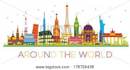 Travel Concept Around the World with Famous International Landmarks. Business and Tourism Concept. Image for Presentation, Placard, Banner or Web Site.