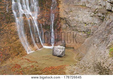 Waterfall in Ordesa National Park, Pyrenees, Huesca, Aragon, Spain.