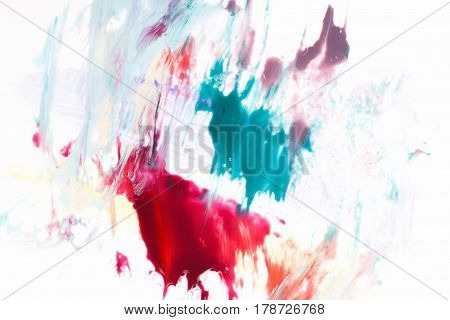 Creativity, modern art, abstractionism. Colorful abstract painting of vivid northern lights isolated on white background.