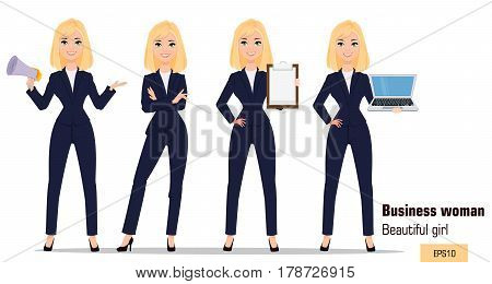 Young cartoon businesswoman set. Beautiful blonde girl in office clothes standing with crossed hands holding mouthpiece showing checklist and holding laptop. Fashionable modern lady. Vector. EPS10
