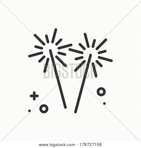 Sparkler, bengal fire icon. Party celebration birthday holidays event carnival festive. Thin line party element icon. Vector simple linear design. Illustration. Symbols. Congratulation