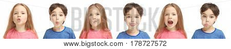 Speech training concept. Little children doing exercises for correct pronunciation on white background
