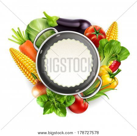 Menu pattern with vegetables (carrots, cabbage, basil, tomato, eggplant, corn, bok choy) with metal saucepan and round card for text