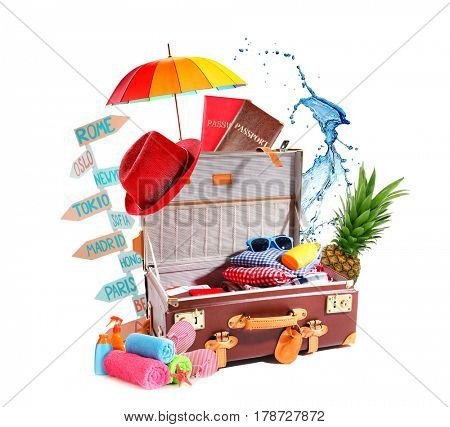 Creative collage for travelling theme on white background