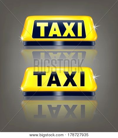 set of taxi signs with reflection, isolated on gray background