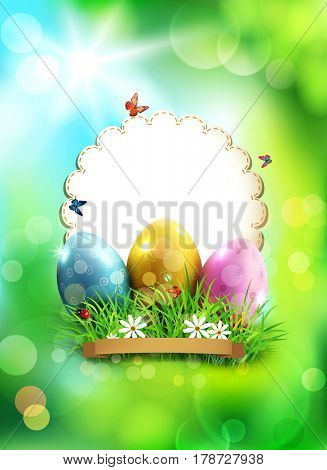 Easter background, with eggs, grass and round card for text
