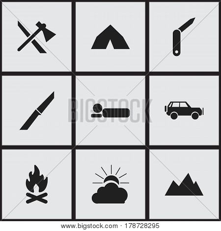Set Of 9 Editable Camping Icons. Includes Symbols Such As Bedroll, Sunrise, Clasp-Knife And More. Can Be Used For Web, Mobile, UI And Infographic Design.