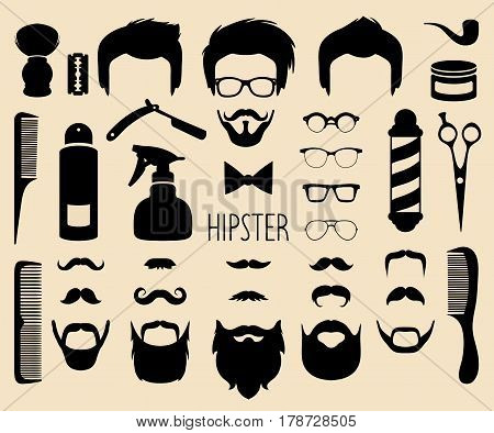 Big vector set of dress up with different men hipster haircuts, glasses, beard, mustache and barber icons in trendy flat style. App man faces creator with hairdressing salon elements.