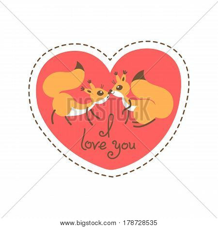 Card Happy Valentines Day. Valentine heart shaped with couple squirrels, kiss and declaration of love. Vector illustration grouped and layered for easy editing