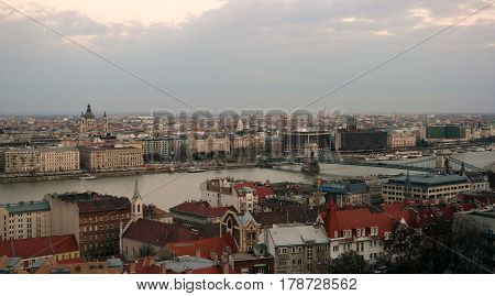Panorama of Budapest city centre with St Stephen`s basilica and Chain Bridge
