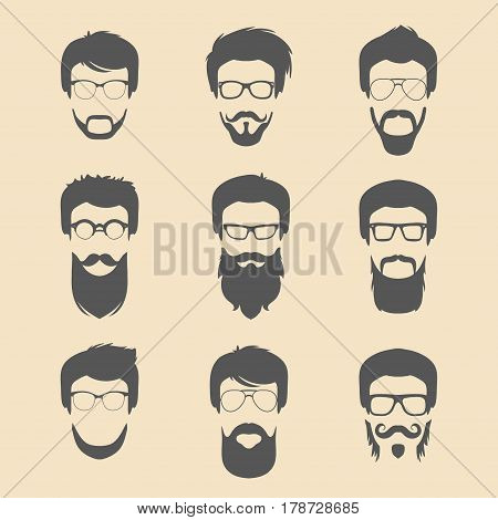 Vector set of different men hipster haircuts, beard, mustache icons in trendy flat style. Man faces collection