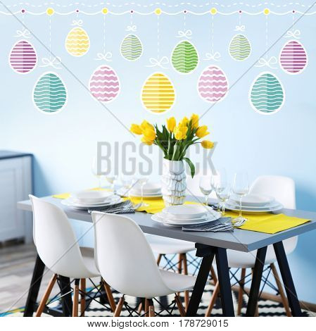 Ideas for Easter decoration. Holiday celebration concept