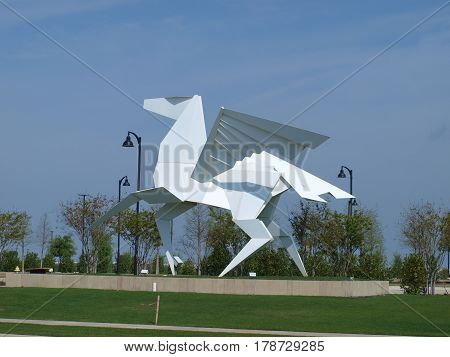Dallas,USA,28th March 2017. The massive development of Cypress Waters has delivered another excellent art piece to the landscape of the Metroplex with this modern white pegasus. The piece is absolutely amazing to view here in Dallas on 26th March.
