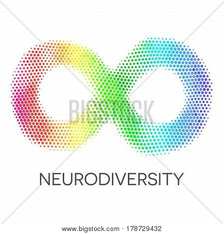 Rainbow infinity sign. Colorful symbol of neurodiversity