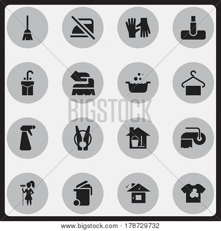 Set Of 16 Editable Dry-Cleaning Icons. Includes Symbols Such As Pulverizer, Scrub, Hoover And More. Can Be Used For Web, Mobile, UI And Infographic Design.