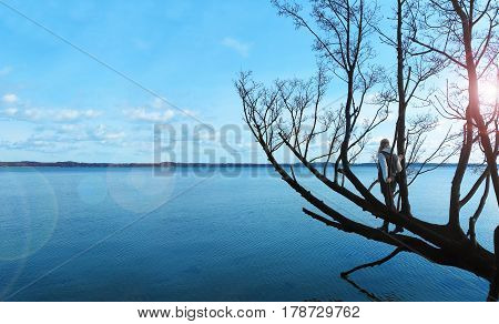 woman standing in a tree hanging above the water and looking over the lake