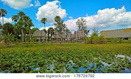 View of the House of Seminole village amid wetlands and water under blue sky in the Everglades in Florida USA