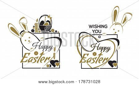 Happy Easter labels lettering set. Greetings text templates with Easter Bunny and eggs isolated on white background. Vector illustration
