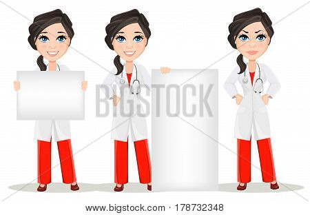 Doctor woman with stethoscope. Set. Cute cartoon smiling doctor character in medical gown holding banner standing near banner and showing anger emotion displeased. Vector illustration. EPS10