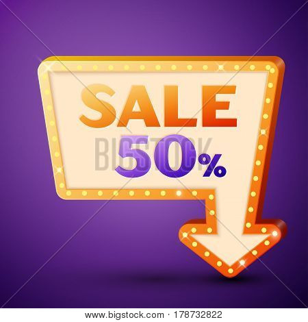 Retro billboard with shining lamps and arrow with inscription sale 50 percent discounts on purple background. Business banner, shopping promotion poster, bright signboard. Vector illustration