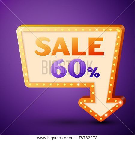 Retro billboard with shining lamps and arrow with inscription sale 60 percent discounts on purple background. Business banner, shopping promotion poster, bright signboard. Vector illustration