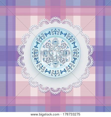 Gzhel. Plate pattern. Blue ornament. Tableware. White porcelain with blue pattern round the border. Russian style Gzhel. Lace napkin and checkered background.
