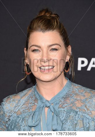 LOS ANGELES - MAR 19:  Ellen Pompeo arrives for the PaleyFest 2017-Grey's Anatomy on March 19, 2017 in Hollywood, CA