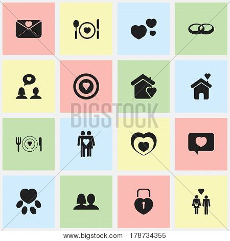 Set Of 16 Editable Passion Icons. Includes Symbols Such As Wedding, Cutlery, Pounce And More. Can Be Used For Web, Mobile, UI And Infographic Design.