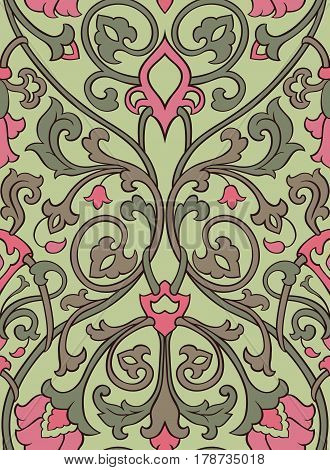Pattern with ornamental flowers. Pink and green filigree ornament on a light green background. Colorful template for wallpaper textile shawl carpet and any surface.