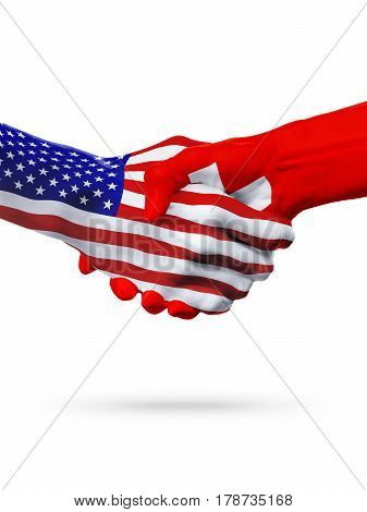 Flags USA Switzerland countries handshake cooperation partnership friendship or sports team competition concept isolated on white 3D illustration