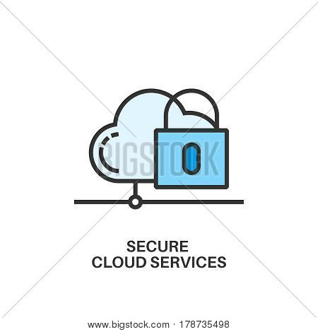 Secure cloud services. Internet security information protection outline linear icon