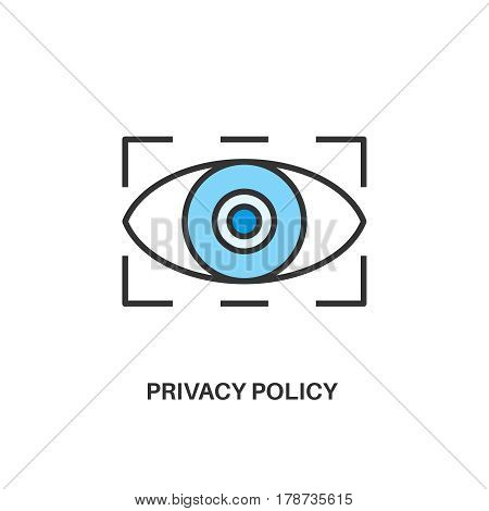 Privacy policy. Internet security information protection outline linear icon
